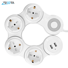 Power Strip Multiple 4 way EU Outlets Electric Switch Plug Socket with USB Port 2500W 10A 1.8m Extension Cord Travel Home Office
