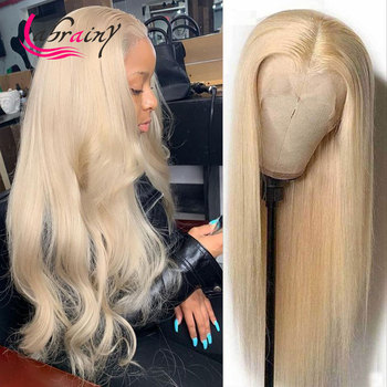 HD 613 Blonde Hightlight Lace Frontal Wigs 13x6 Glueless 130 PrePlucked Kinky Straight Lace Front Human Hair Wigs Bleached Knots image
