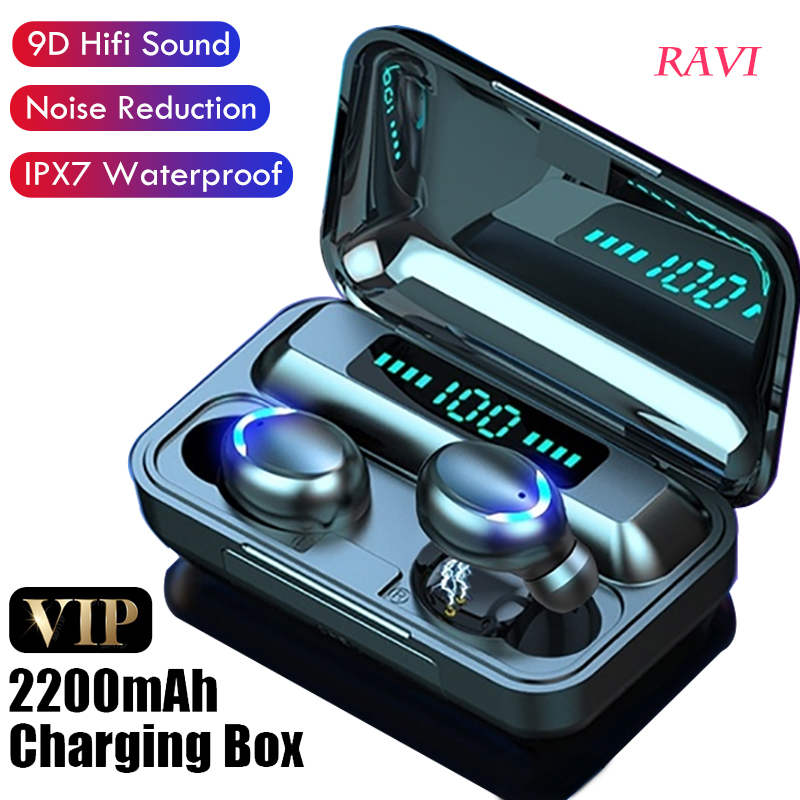 Bluetooth V5 0 TWS headset wireless headset 9D stereo with microphone sports waterproof  headset 2200mAh Android charging case