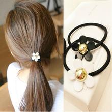 Новые корейские эластичные резинки для волос с цветами 2 шт