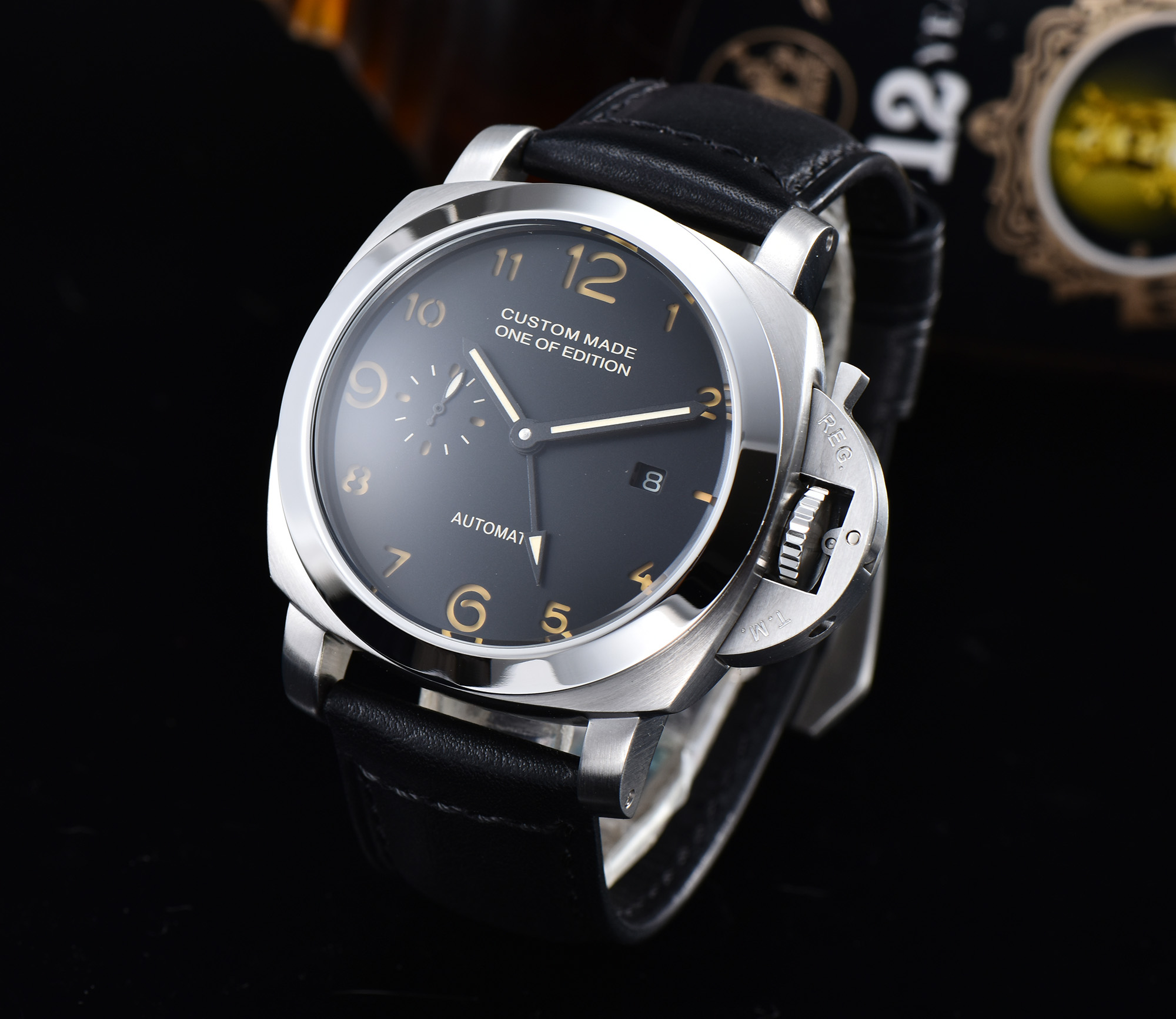 Watch Men's Military Automatic GMT Parnis Movement 44MM Silver Steel Case Luminous Hand Leather Strap H4155