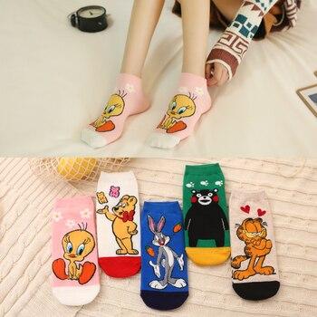 Happy Socks Womens No Show NonSlip Printed Cartoon Image Bunny Garfield Weetybird Funny Mens Fashion Summer Popular