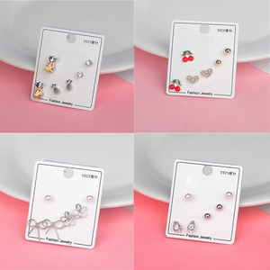 New Fashion 925 Sterling Silver Needle Sweet Cubic Zircon Cherry Crystal Cartilage Stud Earrings Set Ear Piercing for Women Gift