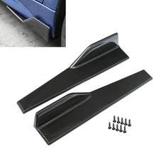 2 peças de fibra de carbono saia lateral do carro spoiler rocker splitters anti-risco