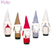 FENGRISE Santa Claus Bottle Cover Christmas Gnome Xmas Gift Merry Decoration For Home Noel 2019 New Year Cristmas Deco