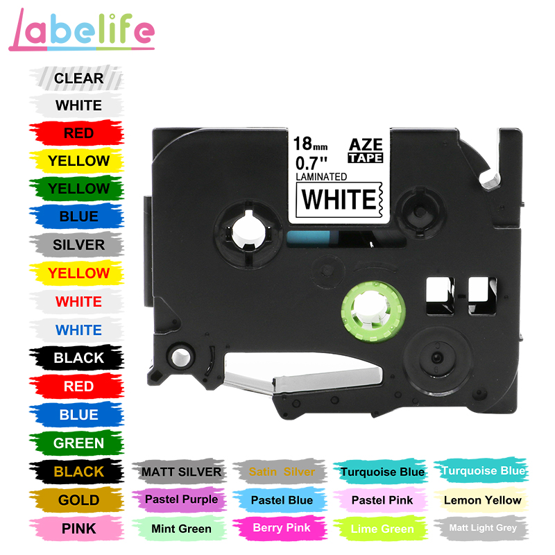 Labelife 1pc Tze 241 31 Colors 18mm Black On White TZ241 TZe-141 Compatible For Brother P-Touch Label Tape PT-D210 Label Printer