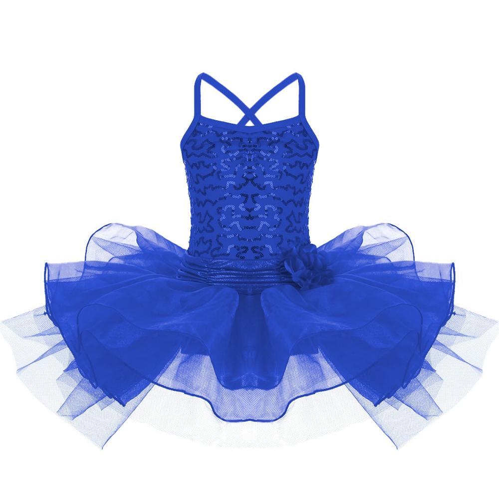 Girls Kids Ballet Dress Tutu Leotard Gymnastics Sequins Skirt Dancewear Costume