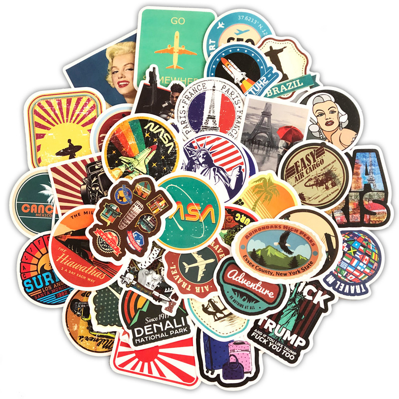 50PCS Journey Scenery Travel Graffiti Computer Stickers Waterproof DIY Fridge Suitcase Decoration Mixed Decals For MacBook