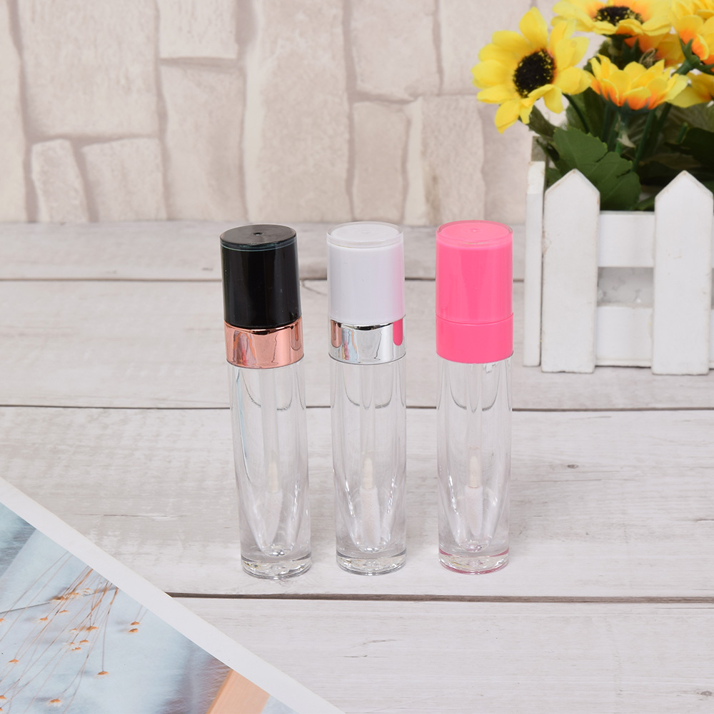 1 Pc Empty Plastic Transparent Lipgloss Bottle Round Lip Gloss Tube Travel Use Lip Glaze Cosmetic Container Refillable Bottles image