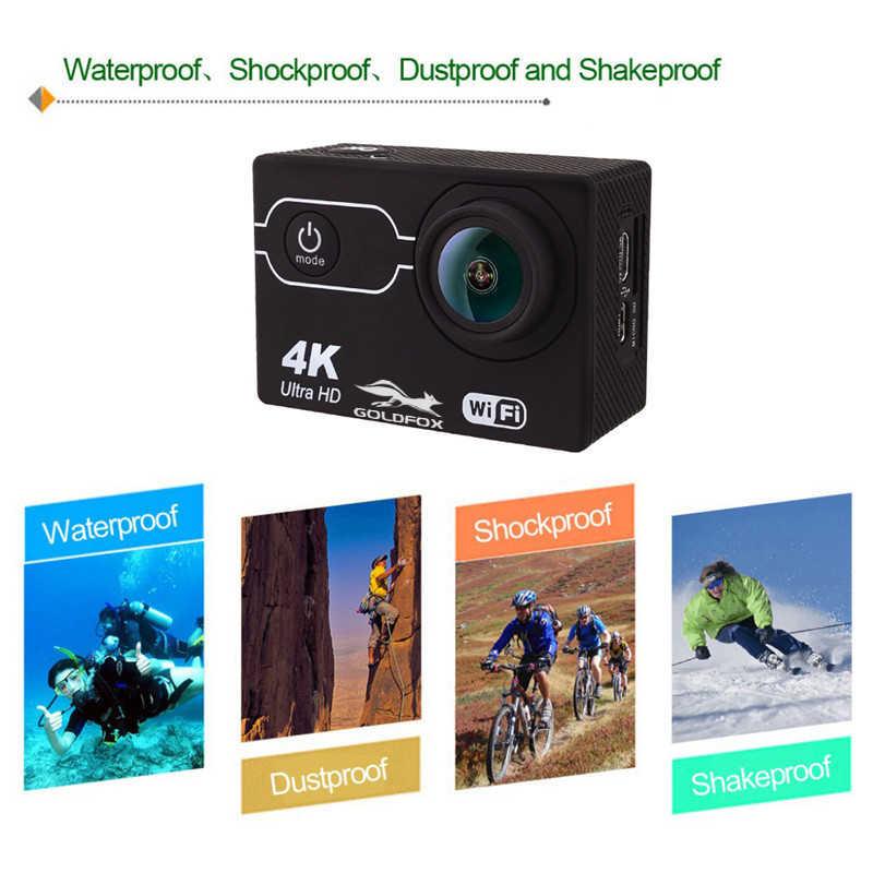 "Kamera Aksi Goldfox SJ 4000 Action Camera Ultra HD 4K 30FPS Wifi 2.0 ""16MP Sport Cam 170 Wide Angel Mini helm Tahan Air Olahraga DV Kamera"