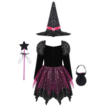 Fantasia assustadora de bruxa para conjunto manga longa com estampa estrelas vestido women