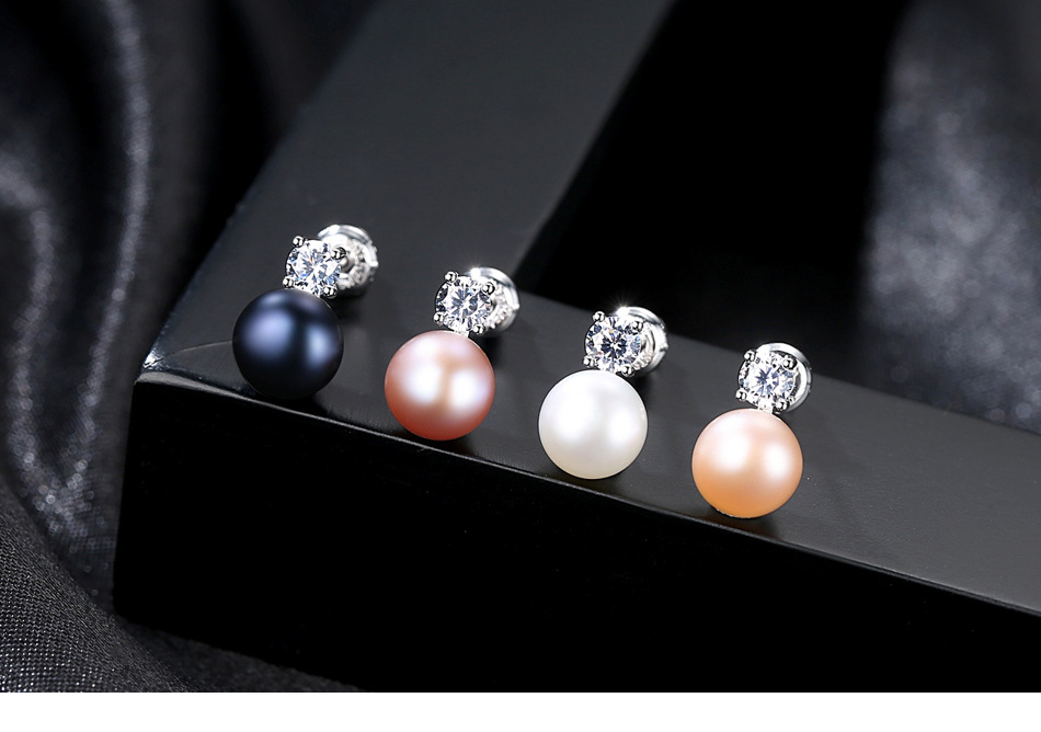 YUEYIN Silver 925 Stud Earrings New Arrival Nature Pearl Stud Earrings for Women Lady Girl Korean Cute 4 Colors Fine Gift Party in Earrings from Jewelry Accessories