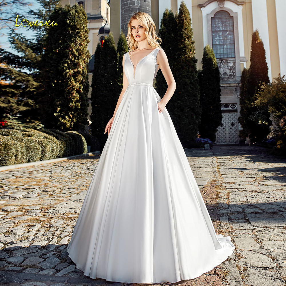 Loverxu Sexy Backless V Neck Matte Satin A Line Wedding Dresses 2020 Lace Up Beaded Sashes Sweep Train Vintage Bridal Gowns