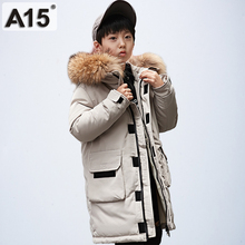 A15 Down-Jacket Boys Winter Coat Hooded Children's Long for Teen Kids 6/8/10/12-14-year