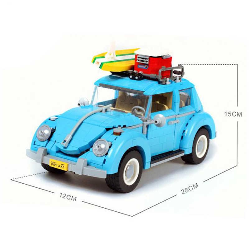 Blocos de construção caber legoingly 10252 1167 pçs série criador vw veículo besouro clássico retro racing carro técnica brinquedos adultos presentes