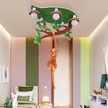 Nordic Cartoon Monkey Chandelier Lights E27 Monkey Climbing Tree Children Bedroom Ceiling Lamps Modern Household Art Fixtures