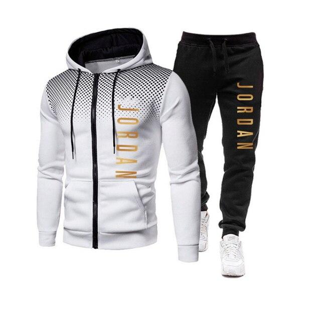 2021 fashion hot autumn/winter new menswear zipper hoodie + pants suit casual sports sportswear 2