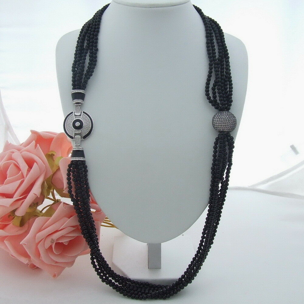 H061503 42 ''6 brins collier Onyx noir fermoir CZ