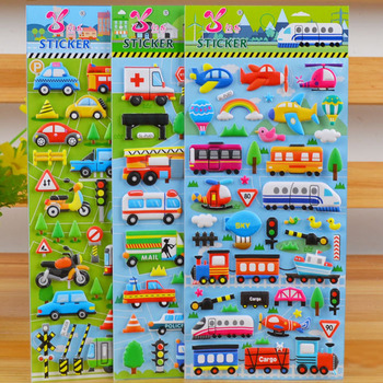 Autocollants à bulles 3D, autocollants en dessin animé, imperméables, pour voiture, camion, avion, trafic, jouets éducatifs amusants, pour fille, garçon et enfant, 5 feuilles/ensemble