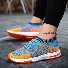 Men Flyknit Breathable Sneakers Casual Leisure Running Sports Tennis Shoes Mesh Cushioned Walking