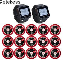 Retekess 433MHz Wireless Calling System Waiter Call Pager 2pcs Watch Receiver T128 + 15pcs Call Button T117 Restaurant Equipment daytech wireless restaurant calling pager queue system 1pcs panel display 5 pcs waterproof wireless call buzzer button 433mhz