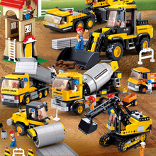 цена на City Engineering Truck Excavator Forklift Minecrafteds Technic Building Blocks Sets LegoINGs Playmobil Bricks Toys for Children