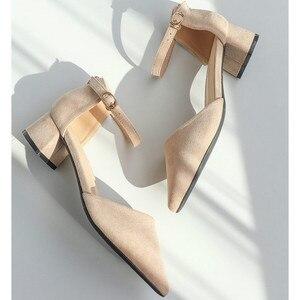 Image 5 - Zapatos de tacón alto cuadrado para mujer, sandalias de ante de imitación con correa en el tobillo, con punta en pico, para oficina, 2020