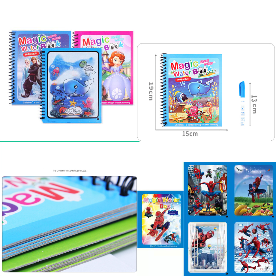 HOT Magic Water Drawing Book Coloring Book Doodle & Magic Pen Painting Drawing Board For Kids Toys Birthday Gift