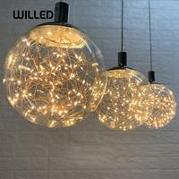 Glowworm led string pingente lâmpada norbic criativo bola de vidro transparente luminária para casa deco sala jantar loft|Luzes de pendentes| |  -