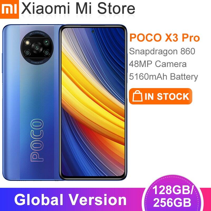 Глобальная версия POCO X3 Pro 128 ГБ/256 ГБ Встроенная память телефона Snapdragon 860 5160 мА/ч, Батарея 48MP Quad AI Камера 120 Гц частота обновления NFC