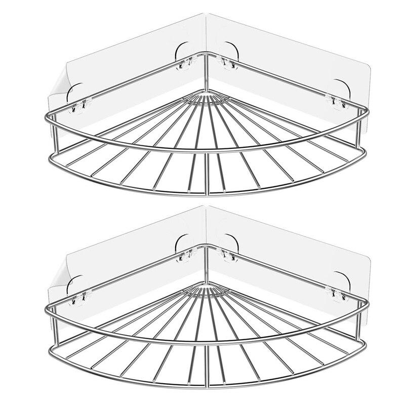 Adhesive Corner Bathroom Shelf Storage Wall Mounted Shower Caddy Shelf Organizer for Kitchen Toilet Stainless Steel No Drilling|Racks & Holders|   -