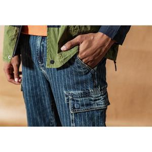 Image 4 - SIMWOOD Cargo jeans men vintage Paneled fashion hip hop vertical stripes streetwear washed 100% cotton ankle length pants 190405