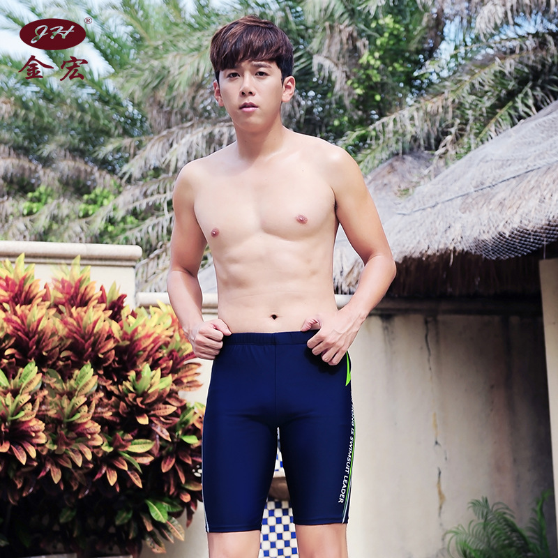 JH New Style Men Plus-sized Swimming Trunks Boxer Short Beach Swimming Trunks Have Bandage Cloth