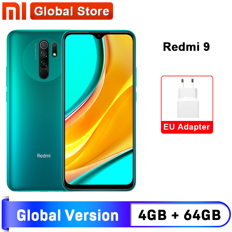 Versão global redmi 9 4gb 64gb smartphone octa-core media tek helio g80 13 mp câmera traseira 5020 mah redmi 9 tipo-c