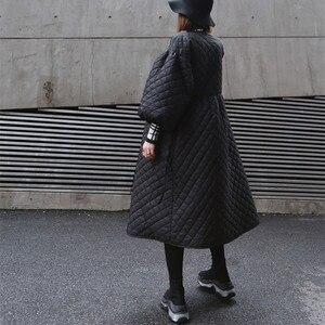 Image 2 - Новинка 2020, Женское зимнее пальто большого размера, винтажный буф с рукавом, клетчатая парка, Корейская черная хлопковая куртка, осеннее пальто, уличная одежда