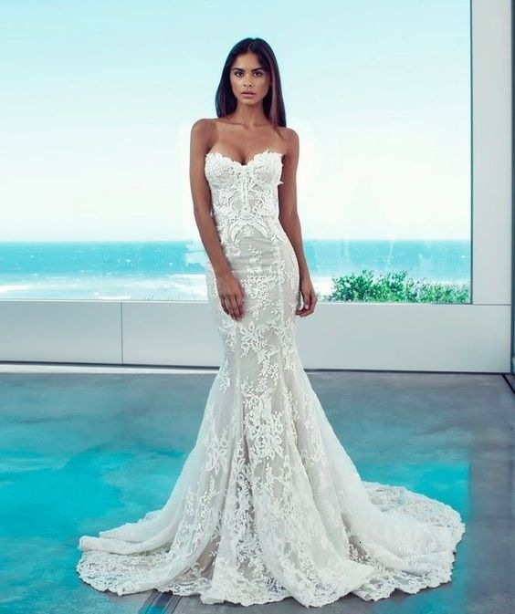 BacklakeGirls Sexy Sweetheart Neck Sleeveless Mermaid Wedding Gowns Strapless Lace Tulle Wedding Dress Vestido De Novia Sirena