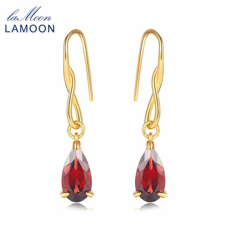 LAMOON Drop Earring For Women Water Drop 100% Natural Red Garnet 925 Sterling Silver Gold Color Jewelry EI078