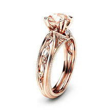 European and American Fashion Zircon Jewelry Princess Engagement Ring Rose Gold Design Gold Ring Men and Women Jewelry(China)