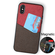 Fabric Magnetic Business case for iphone X XS max XR Cover Multifunction With Card slot protective 6 7 8 8plus