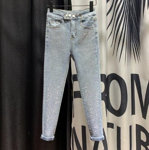 European Slim-Fit Button Pencil Pants Women's 2020 Spring New Heavy Rhinestone Jeans Village Denim Jeans Hot Drill Jean Femme