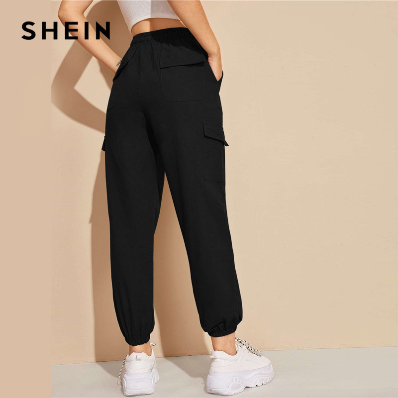 SHEIN Black Flap Pocket Drawstring Waist Sweatpants Sporting Pants Women Spring High Waist Long Carrot Trousers Cropped Pants 2