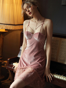 Image 2 - Sexy Velvet Nightdress Woman Lace V neck Nightgown Sleepwear Back Suspender with Breast Pad Small Chest Temptation Nightwear