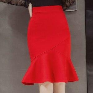 Image 2 - S 5XL 2020 Women Pencil Skirt Fashion OL Slim Bodycon Business Wear Ruffles Hem Mermaid Style Plus Size Ladies Office Skirt