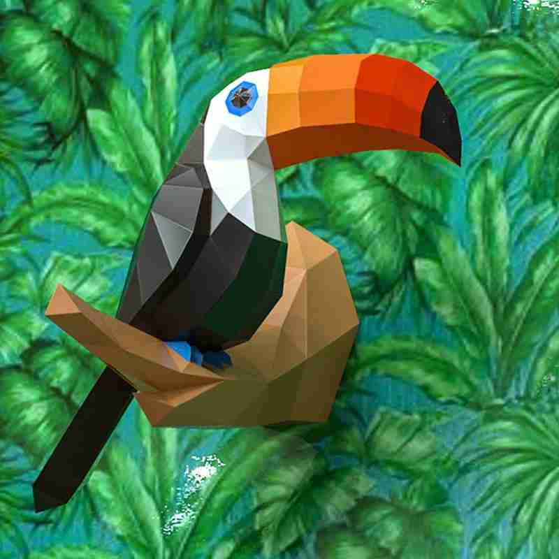 Toucan 3D Paper Model Papercraft Home Decor Birds Animal Wall Decoration Puzzles Educational Children Kids Toys Birthday Gifts