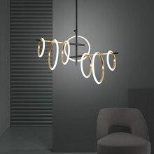 포스트 모던 LED 샹들리에 조명 거실 펜 던 트 램프 침실 식사 홈 데코 반지 자기 매력 매달려 조명