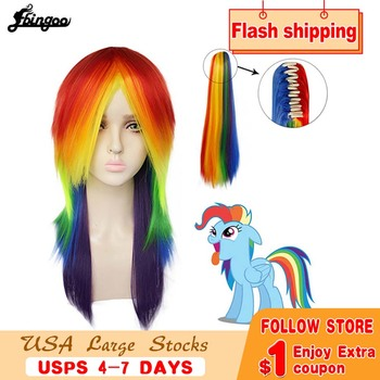 Ebingoo My Little Pony Ponytail Style Rainbow Color Dash Yellow Pink Side Part Red Green Purple Synthetic Cosplay Wig For Party long side bang straight my little pony lily cosplay wig