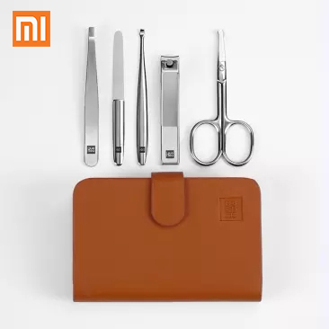 5pcs Xiaomi Huohou Manicure Nail Clippers Nose Hair Trimmer Portable Travel Hygiene Kit Stainless Steel Nail Cutter Tool Set