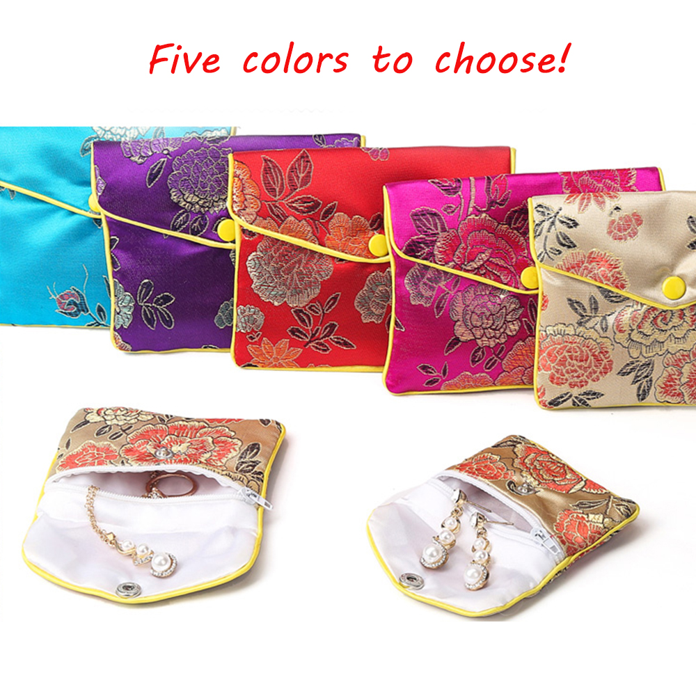 Vintage Chinese Brocade Jewelry Packaging Bag Handmade Silk Embroidery Padded Jewelry Gift Pouch Case Satin Coin Purse