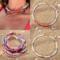 Ожерелье с цветными бусинами для женщин, модное ожерелье для девушек, летнее пляжное ювелирное изделие для серфинга