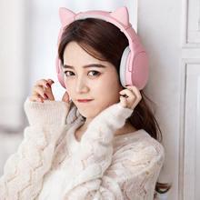 Somic SC2000BT Bluetooth Gaming HiFi Headphone Pink Cat Ear Headset 3.5mm/Bluetooth Dual Mode with HD Mic for Xiaomi PUBG